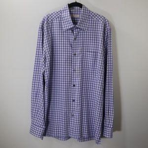 Ermenegildo Zegna Purple Checked Dress Shirt L